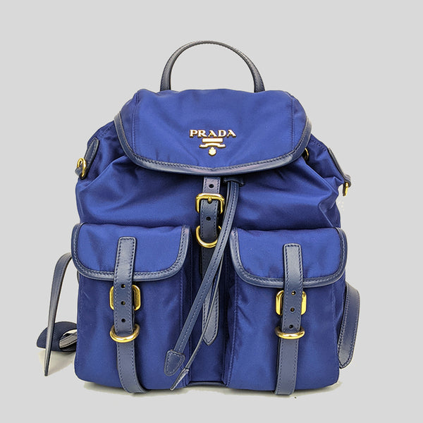 Prada Bluette Tessuto Nylon Calf Leather Backpack With Gold Tone Hardware 1BZ677