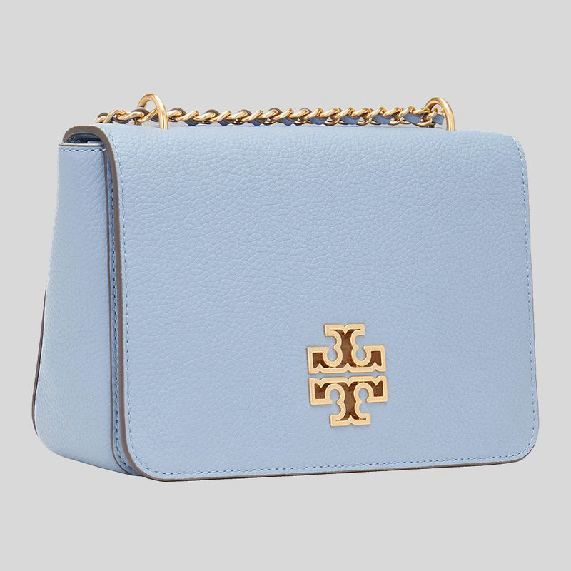 Tory Burch Britten Leather Crossbody Bag 67292 Blue Cloud