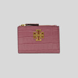 Tory Burch Britten Croc Zip Card Case 78573 Cactus Flower
