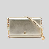TORY BURCH Emerson Chain Wallet Crossbody White Gold 73383