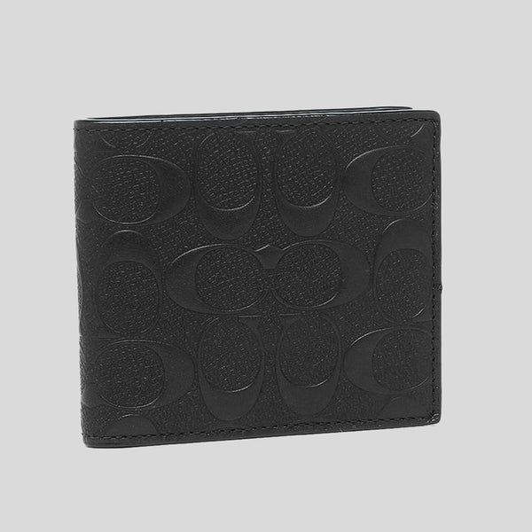 Coach Coin Wallet In Signature Crossgrain Leather Black (F75363)