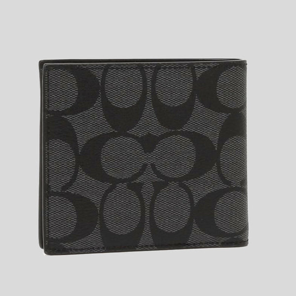 Coach Double Billfold Wallet In Signature Coated Canvas Black (F75083)