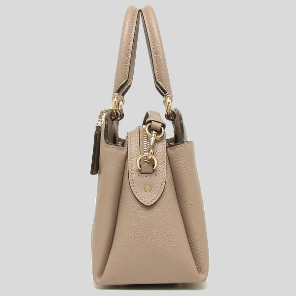 Coach Mini Lillie Carryall Satchel In Crossgrain Leather Taupe 91146