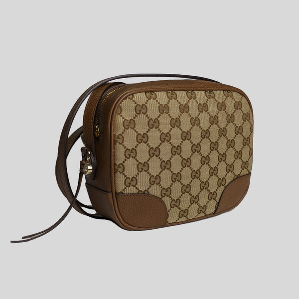 Gucci Beige Brown Canvas Leather GG BREE Crossbody Camera Bag 449413