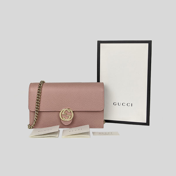 Gucci Icon GG Interlocking Wallet On Chain Crossbody Bag Dusty Pink 510314