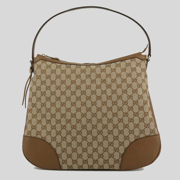 Gucci Large BREE Canvas Beige Brown Leather Hobo Handbag 449244