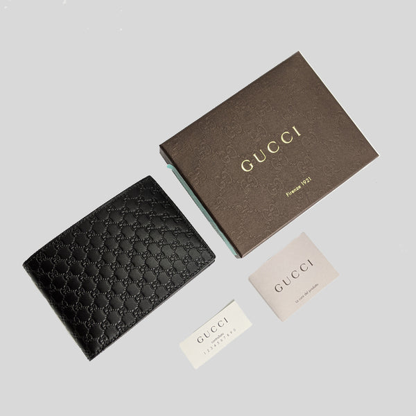 Gucci Men's Black Microguccissima GG Logo Leather Bifold Wallet With Coin Compartment 292534