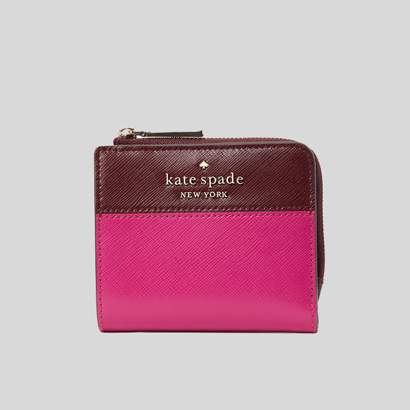Kate Spade Staci Small L-Zip Bifold Wallet Colorblock WLR00121 Pink Multi