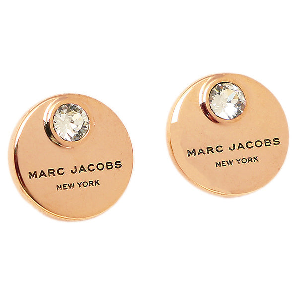 Marc Jacobs Logo Coin Stud Earrings Rose Gold M0009789