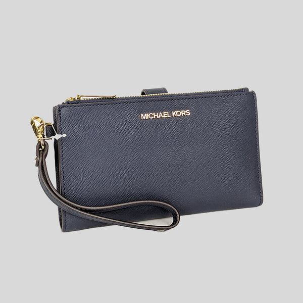 Michael Kors Jet Set Travel Double Zip Wristlet Phone Wallet Navy 35F8GTVW0L