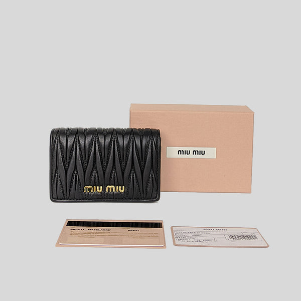 Miu Miu Matelassé Leather Card Holder Black 5MC011
