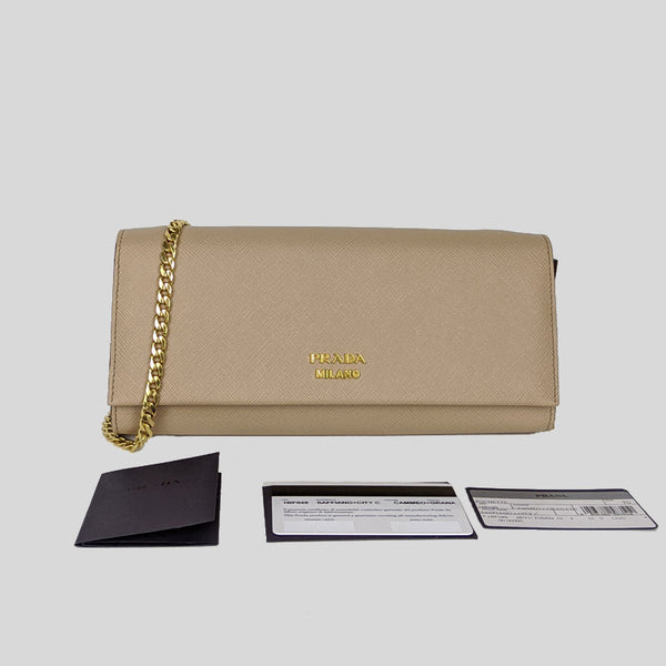 PRADA Biblioteque Chain Clutch in Nude Saffiano Leather 1BF049