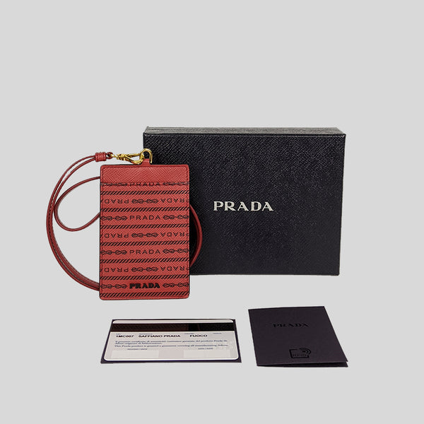 PRADA Saffiano Leather Lanyard ID Case Fuoco 1MC007