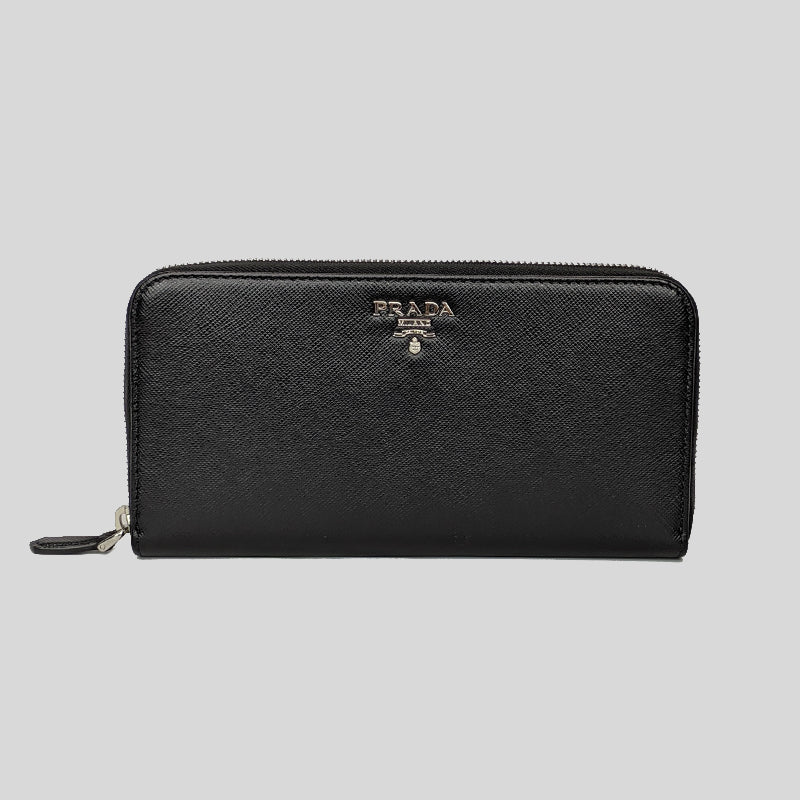 PRADA Saffiano Leather Zip Around Wallet Black 1ML506