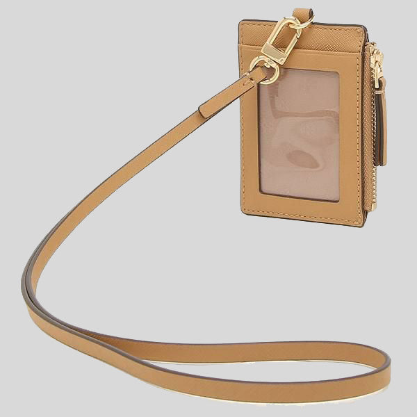 Tory Burch Emerson Leather ID Lanyard Cardamom