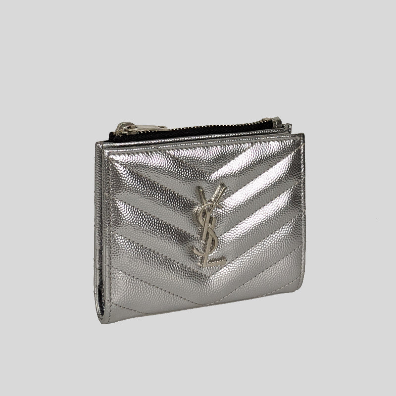 YSL YVES SAINT LAURENT Monogram Zipped Card Case Wallet In Grain De Poudre Embossed Leather 517045