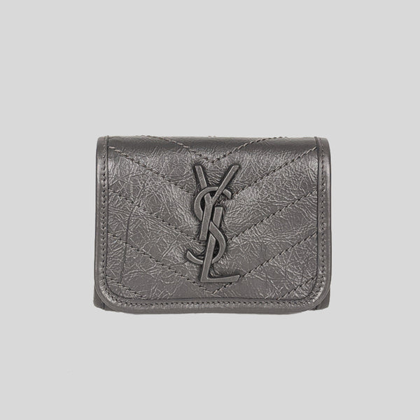 YSL YVES SAINT LAURENT NIKI Compact Wallet In Crinkled Vintage Leather Storm 583570