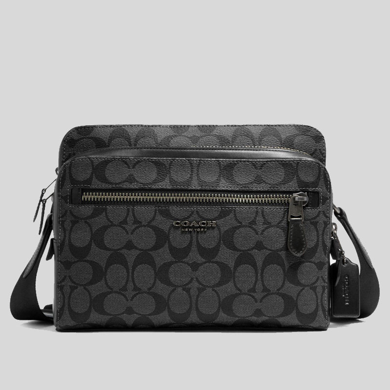 Coach West Camera Bag In Signature Canvas (91485) Charcoal Black
