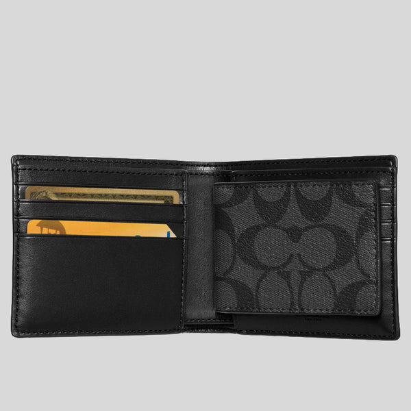 Coach Compact ID Wallet In Signature Coated Canvas Black (F74993)