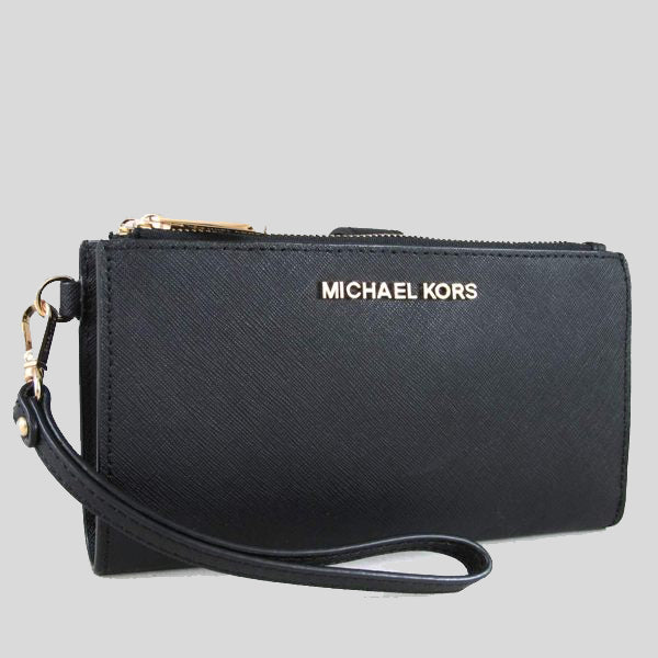 Michael Kors Jet Set Travel Double Zip Wristlet Phone Wallet Black 35F8GTVW0L