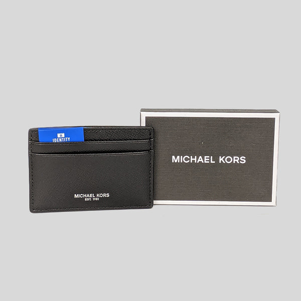 Michael Kors Harrison Leather Card Case Black In Gift Box 39F5XHRD1L