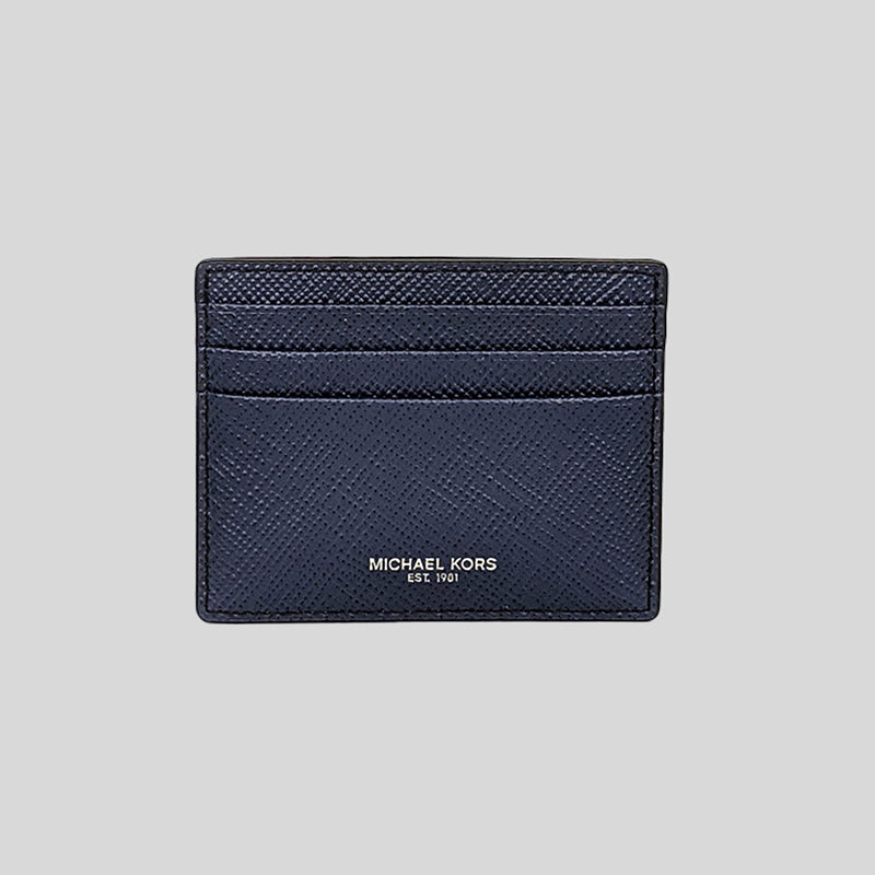 Michael Kors Harrison Leather Tall Card Case Navy 36U9LHRD1L