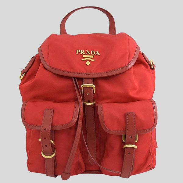 Prada Rosso Tessuto Nylon Calf Leather Backpack With Gold Tone Hardware 1BZ677
