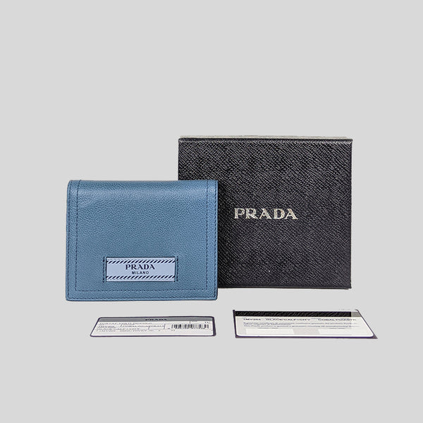 Prada Glace City Calf Small Bifold Wallet Cobalto/Astrale 1MV204