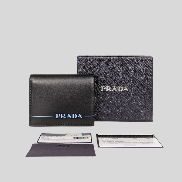 Prada City Calf Small Bifold Wallet Nero 1MV204