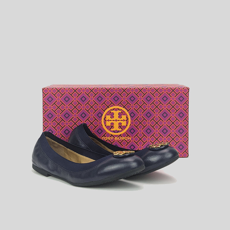 TORY BURCH Claire Elastic Travel Ballet Nappa Leather Royal Navy 61551