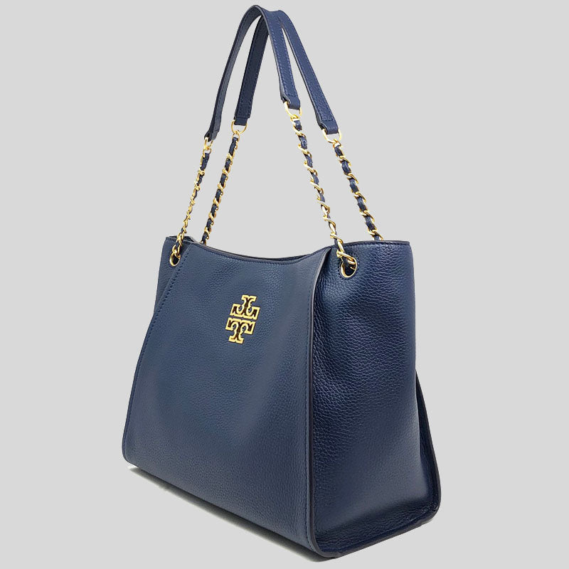 TORY BURCH Britten Small Slouchy Leather Tote Bag Royal Navy 73503