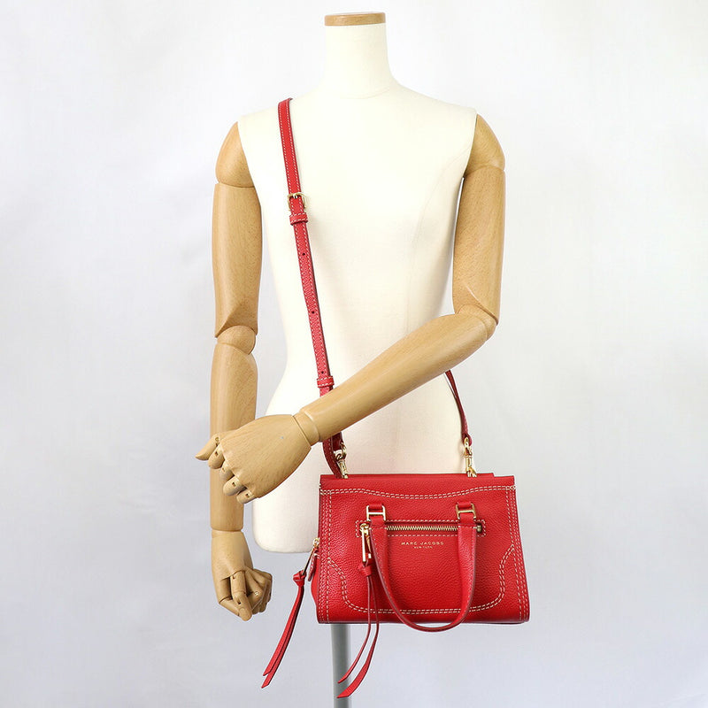 Marc Jacobs Mini Cruiser Pebbled Leather Crossbody Satchel Fire Red