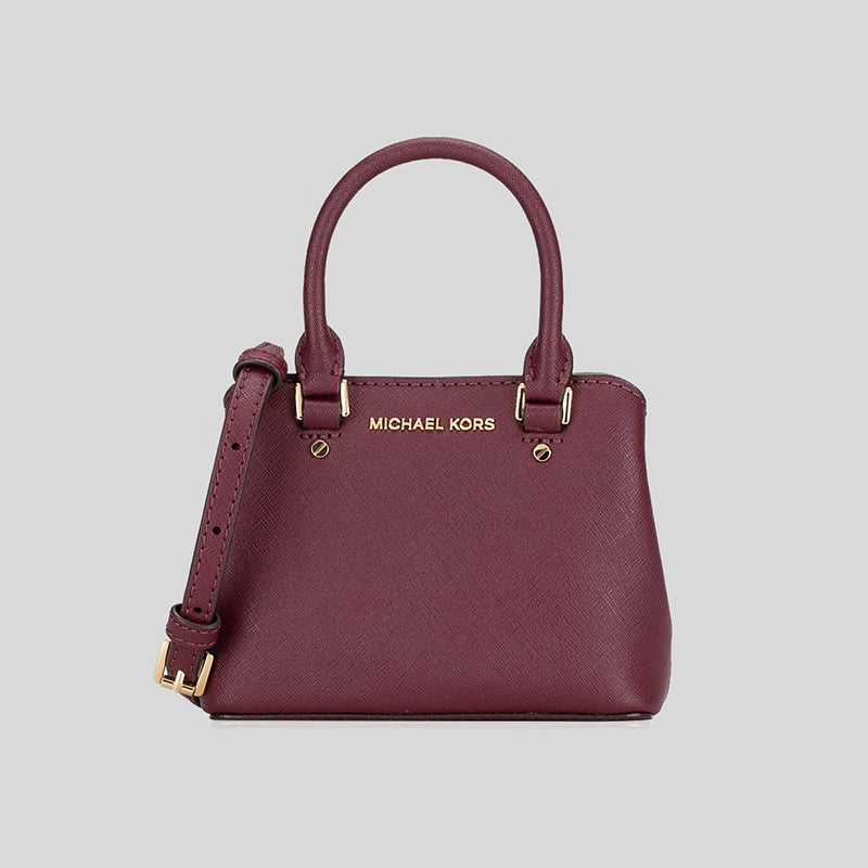 Michael Kors Giftables Savannah Leather EXTRA Mini Crossbody Merlot