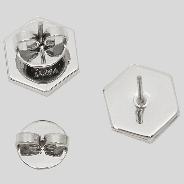 Tory Burch Hexagon Logo Stud Earring Silver Color 56616