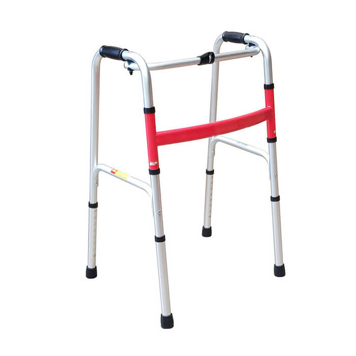 PQUIP Folding 1 Button Walking Frame  red colour