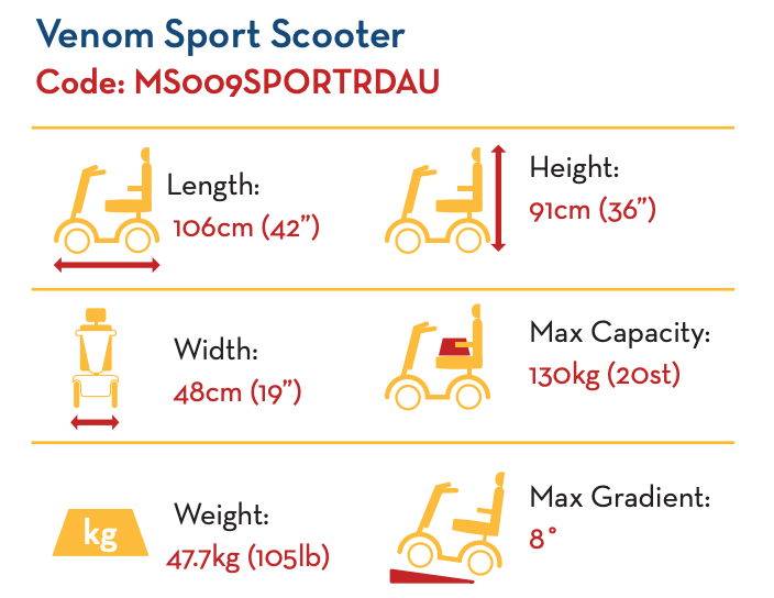 Venom Sport Scooter with 20AH Batteries MS009SPORTRDAU by Drive