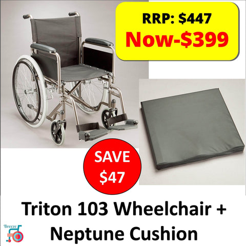 Package - Care Quip Triton 103 + Neptune Cushion, Breeze Mobility