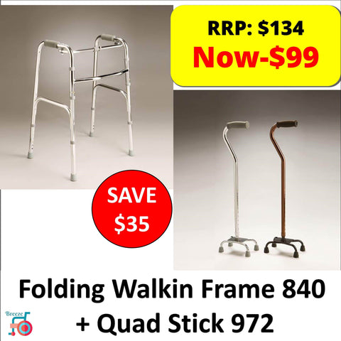 Package - Care Quip - Quad Stick + Walking Frame-Care Quip-Breeze Mobility
