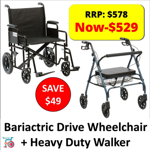 Package - Drive - Bariatric Wheelchair + Heavy Duty Walker / Rollator-Drive-Breeze Mobility