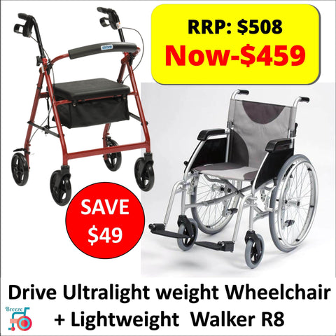 Package - Drive - Lightweight Rollator R8 + Lightweight Wheelchair