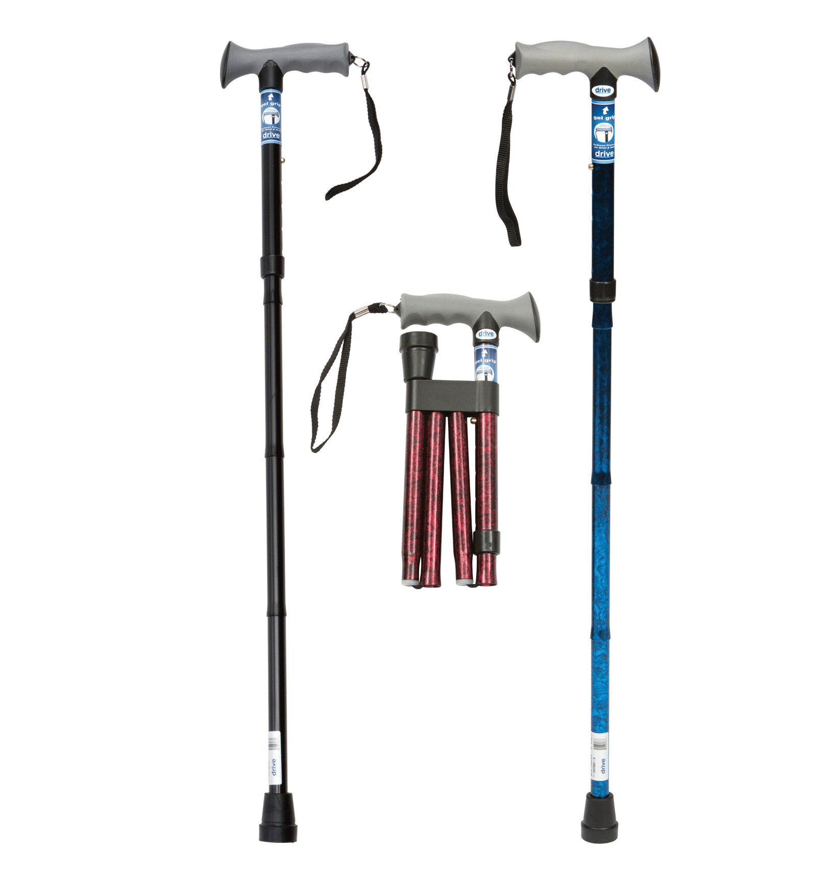 Drive - Folding Walking Stick with Gel Grip Handle Blue 10370BC-6AU by Drive
