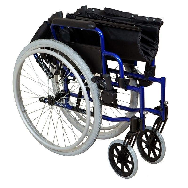 Lightweight Self-Propelled Wheelchair Blue Frame SMW110 by SAFETY & MOB