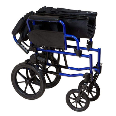 Lightweight Transit Wheelchair Blue Frame SMW130 by SAFETY & MOB
