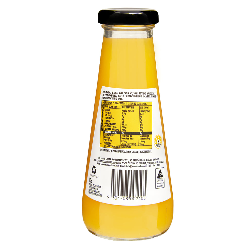Straight OJ 250ml Glass (Case of 12)