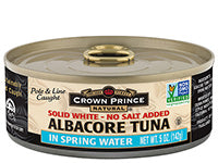 Crown Prince Natural Albacore Tuna Solid White No Added Salt in Spring Water - 142g - Low Sodium Foods