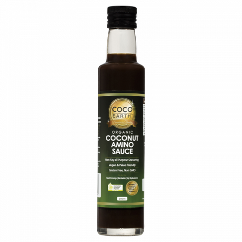 Coco Earth Organic Coconut Aminos Soy Free Seasoning Sauce -  250mls - Low Sodium Foods