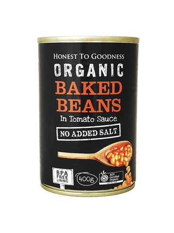 Honest To Goodness Organic Baked Beans in Tomato Sauce - No Added Salt - 400gm - Low Sodium Foods