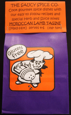 Saucy Spice Co Moroccan Lamb Tagine - 35g. Gluten Free - Low Sodium Foods