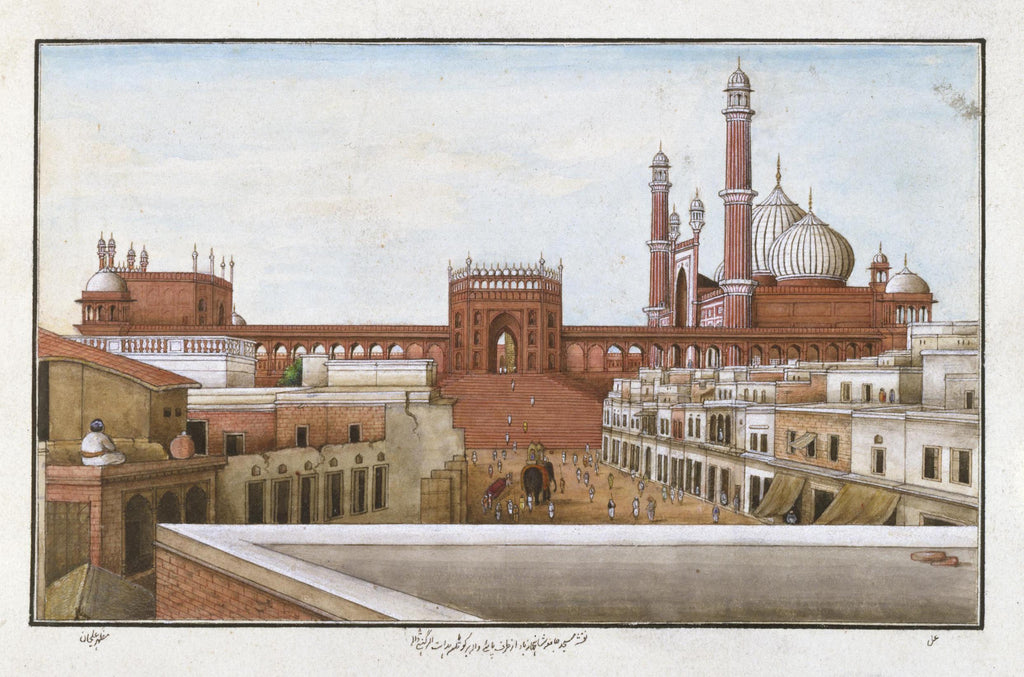 Delhi India Chandni Chowk Vintage painting Red Fort Jama Masjid