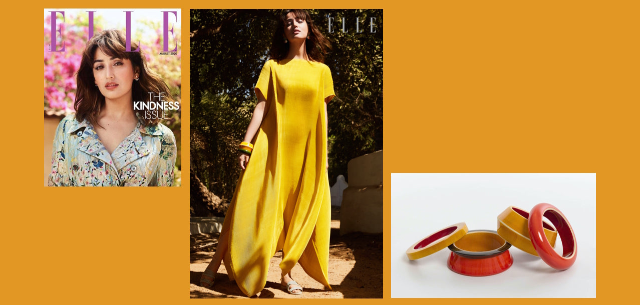 Elle India Lai press. Channapatna lacquered wooden bangles 2020